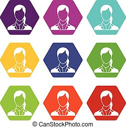 Woman icon set color hexahedron