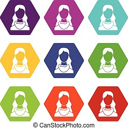 Woman icon set color hexahedron