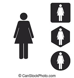Woman icon set, monochrome