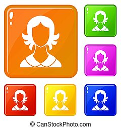 Woman icons set color