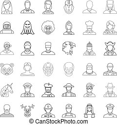 Woman icons set, outline style