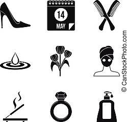 Woman icons set, simple style
