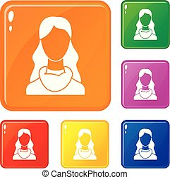 Woman icons set vector color