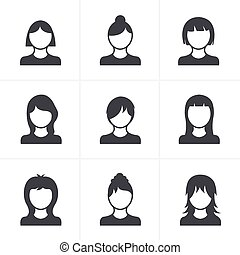 Woman Icons Set, Vector Design