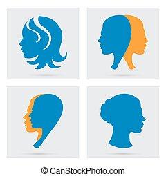 Woman icons set. Vector portraits silhouette.