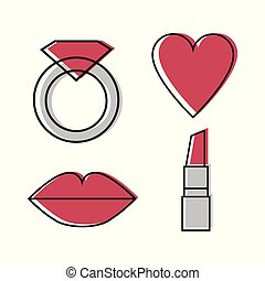 Woman icons vector set of four symbol - ring, heart, lips, lipstick