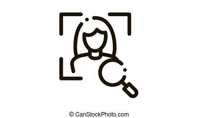 Woman Identity Check Icon Animation. black Woman Identity Check animated icon on white background
