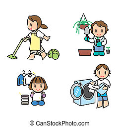 It is an illustration of the woman who is doing housework.