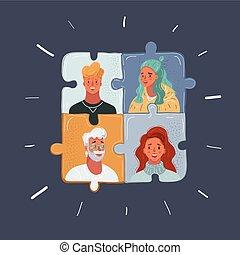 woman., illustration, mot, puzzle, faces, fin, backround., ensemble, homme, haut, vue., vecteur, concept, mettre, sombre, équipe, famille
