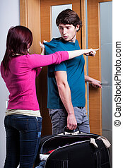 Woman imploring her boyfriend from home - Angry woman...