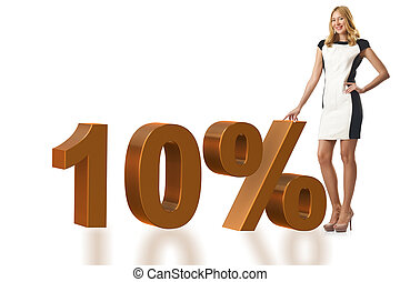 Woman in 10 percent sale concept