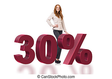 Woman in 30 percent sale concept