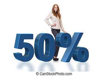 Woman in 50 percent sale concept