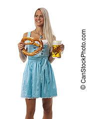 woman in a bavarian dirndl