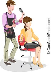 Woman in a beauty salon isolated