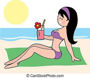 Woman in a Bikini - A pretty brunette sunbathing in a bikini...