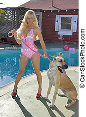 Woman in a Bikini with Dog