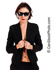 Woman in a black suit