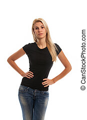 woman in a black t on white