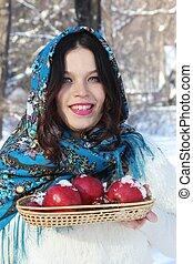 Woman in a blue shawl
