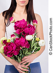 Woman in a bouquet