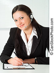 woman in a business suit working