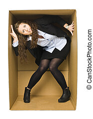 Woman in a Carboard Box