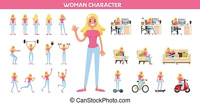 Woman in a casual clothes set. Collection of character