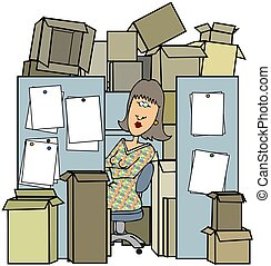 This illustration depicts a woman working inside a cubicle cluttered with boxes.