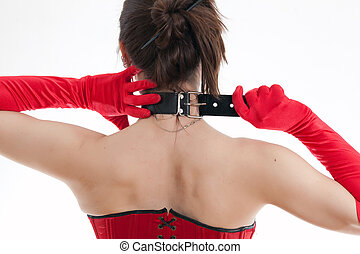 woman in a collar - woman in a red corset with a collar...