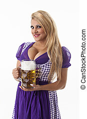 woman in a dirndl with a beer