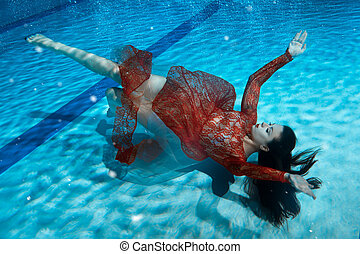 Woman in a dress drowning.