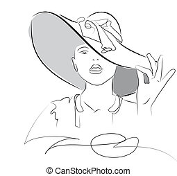 hat - woman in a elegant hat made in 2d software