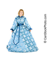 Woman in a fancydress - Blond woman in a blue dress with ...