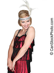Woman in a flappers outfit