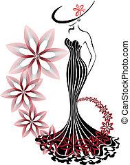 woman in a flower vortex - slender woman in a long dress on...