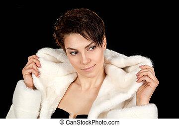 Woman in a fur coat.