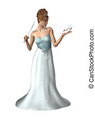 Woman In A Gown - Woman dressed in a gown with a magic wand...