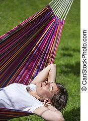 Woman in a hammock