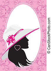 Woman in a hat. Fashion card