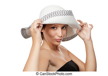 Woman in a hat isolated on white background