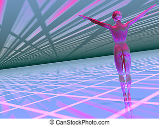 Woman in a hi tech cyber world - 3D illustration of a woman ...