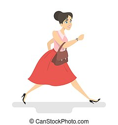 Woman in a hurry