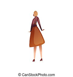 Woman in a jacket and skirt. View from the back. Vector illustration on white background.