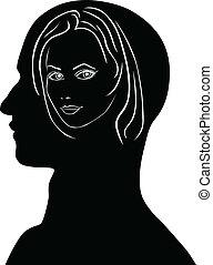 Woman in a man's head