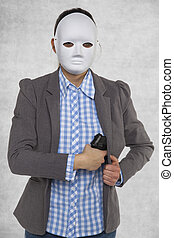 woman in a mask holds a pistol