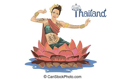 woman in a national costume of Thailand dances