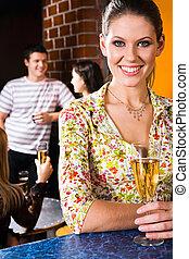 Woman in a night club