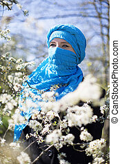 Woman In A Niqab - Beautiful woman in a Niqab in spring...