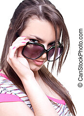 woman in a pink shirt with the glasses